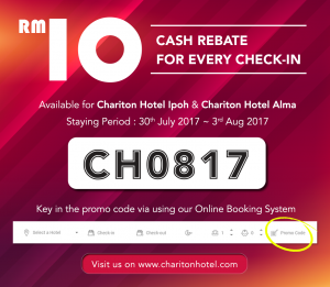 Enjoy RM10 cash rebate for every single check-in via Online Reservation !
